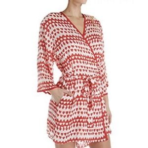Kate Spade Crinkle Chiffon Red Hearts Short Robe
